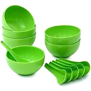 Round Shape Soup Bowls Set (6 Bowl and 6 Spoon)- Microwave Safe (Green) By kumra store