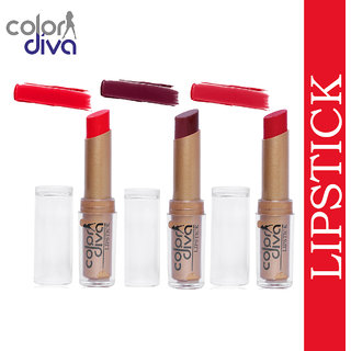 Color Diva (Golden Absolute) Creamy Matte Lipstick (TANGY ORANGE, INDIE MAROON, ROSY RED)-4.5 gm (Set of 3)