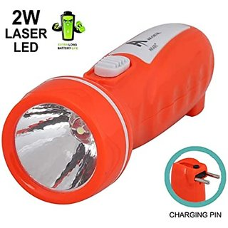 S4 2W Mini Plastic Rechargeable Hand held Search Light Torch/ Flash light (Assorted Color)