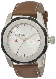 Fastrack Men Round Dial Brown Leather Strap Watch 3099SL01