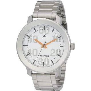 Fastrack Analog Quartz 3121sm01 Silver Dial Round Stainless Steel Strap Formal Watch for Men