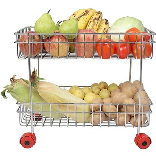 AK Stainless Steel 2 Layer Fruits and Vegetable Trolley with Wheels ll Kitchen Storage Basket Potato Onion Hold