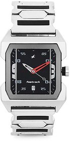 Fastrack Analog Quartz Black Dial Rectangle Stainless Steel Strap Formal Watch for Men