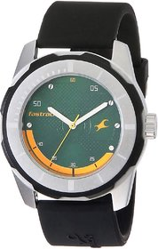 Fastrack 3099SL06 Stylish Round Dial Black Leather Strap water resistant Watch For Men