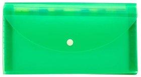 JDents Presents Plastic File Folder Expanding Bag CHEQUEBOOK Size (Transparent) (Green) Pack of 6