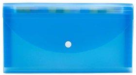 JDents Presents Plastic File Folder Expanding Bag CHEQUEBOOK Size (Transparent) (Blue) Pack of 6