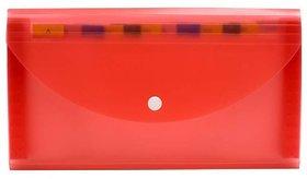 JDents Presents Plastic File Folder Expanding Bag CHEQUEBOOK Size (Transparent) (RED) Pack of 6