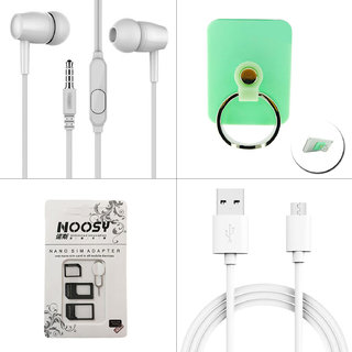 Kanny Devis 4 in1 Combo of Ear Phone + USB Cable + Mobile Ring Holder + Sim Adapter Kit