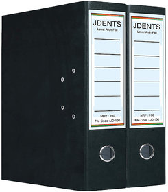 JDents Office Cardboard Lever Arch Binder Box File (Black, Pack of 2) for Legal, Letter, A4 Size