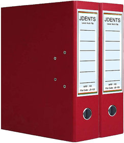JDents Office Cardboard Lever Arch Binder Box File (Red, Pack of 2) for Legal, Letter, A4 Size
