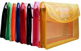 Jdents Envelope Folder, Transparent Poly-Plastic A4 Documents File Storage Bag with Snap Button