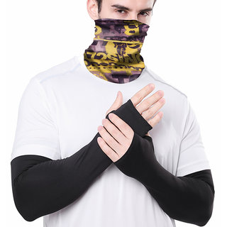 Combo of Arm Polyester Sleeves and Seamless Bandana for Protection From Sun Burn/Heat/Pollution