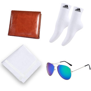 Combo of Italian Leather Wallet, Handkerchief, Ankle Socks Pair And Shades