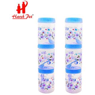 Harsh Pet Kitchen Storage Royal PET Plastic Container (750ml, Set of 6, Blue)