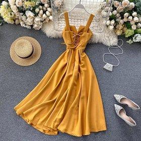 Ft Strips Shoulder  Mustard V- Neck Stylish With Back Laces Knot Dress