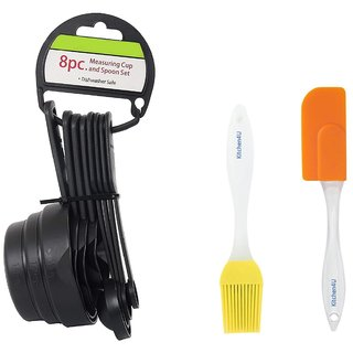 Kitchen4U Plastic Measuring Spoon And Spatula Brush Set (Assorted Color)