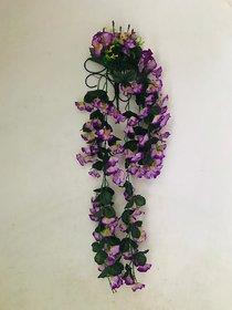 PS GOODS HOUSE Artificial Primrose Flower Hanging with Steel Stand for Indoor/Outdoor Flower Dec