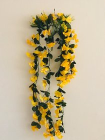 PS GOODS HOUSE Artificial Orchids Flower Hanging with Steel Stand for Indoor/Outdoor Flower Decor