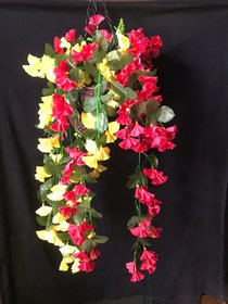 PS GOODS HOUSE Artificial Pink Orchid Flowers Or Leaves Plastic Hanging Basket