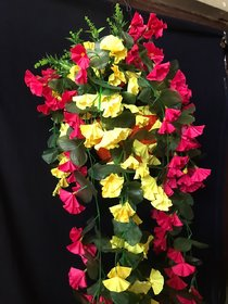 PS GOODS HOUSE Artificial Orchid Flowers Or Leaves Plastic Hanging Basket