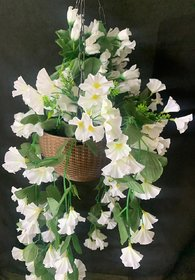 PS GOODS HOUSE Artificial Orchid Flowers Plastic Hanging Basket of Duel Shade Flower for Decorate Your Balcony  Ot