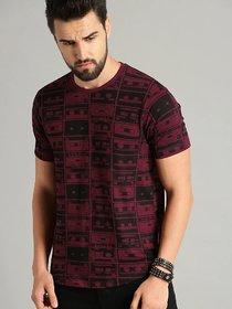 29K Men Maroon Printed Round Neck T-Shirt