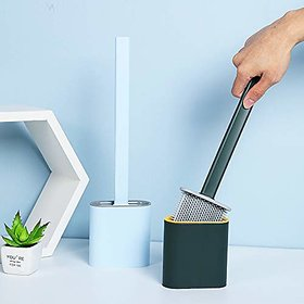PAYKARS Silicone Bristles Toilet Brush with Holder Set Deep Cleaning Silicone Toilet Brush No-Slip Long Plastic Handle