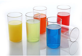 Solomon Premium Quality Stinson Plastic Glass For Water, Juice, Beer, Cold Drinks, Shake Glass  (300ML, 6PCS Set)