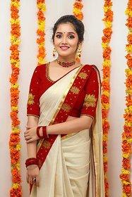 Bhuwal Fashion Beige Tussar Silk Saree With Blouse
