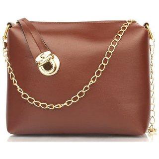 Girls Mini Brown PU Sling Bag