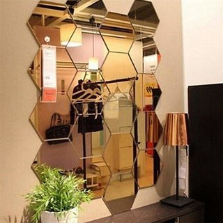 Ghar Kraft Hexagon 13 Golden Acrylic Mirror Wall Stickers