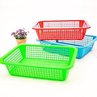 Lazywindow Multipurpose Premium Plastic Fruit Baskets Set of 2 (25x16cm) (Assorted Color)