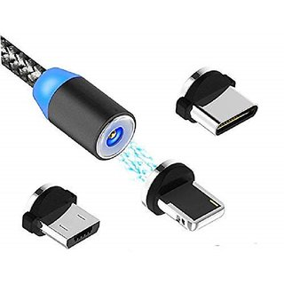 Multi 3-in-1 Cable Magnetic Charging USB Cable With LED by KSJ