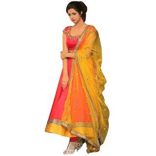 Designer Orange Groget silk Anarkali suit