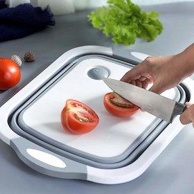 PAYKARS Collapsible Multi-Function Cutting Chopping Board Dish Tub Basin/Washing Bowl, Fruit Vegetable Basket