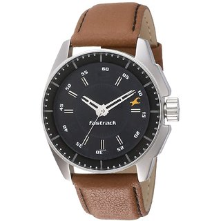 Fastrack Men Round Black Dial Brown Leather Strap Analog Watch NM3089SL05
