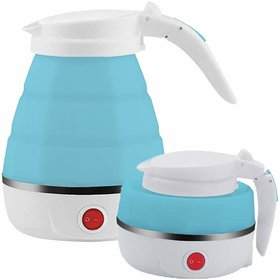 PAYKARS Folding Electronic Kettle 100-240V Food Grade Silicone and Dual Voltage Travel Foldable Electric Kettle 600 ml
