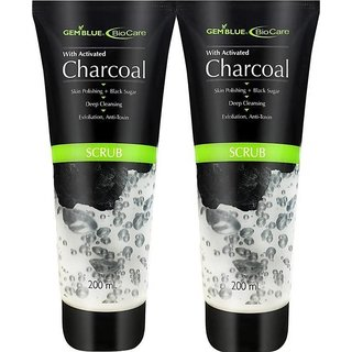 GEMBLUE Biocare Activated Charcoal Scrub - 200 ML (Pack of 2)
