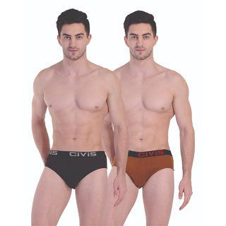 CIVIS Cotton Brief Innerwear (Pack of 2) Assorted Color