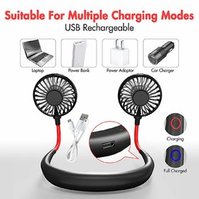 Portable Hanging Neck Fan USB Gadgets Rechargeable Wearable Neckband Face Fan for Kitchen Cooking Strong Airflow Quiet O