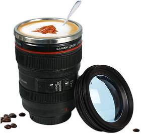 PAGALY Camera Lens Coffee Mug Flask With Cookie Holder, Black
