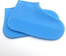 UPKARANWALE Reusable Waterproof Silicone Shoe Covers For Rain Non Slip Shoe booties For All ( Blue )