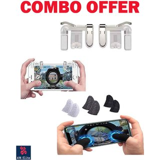 KSJ Metal Triggers and Finger Sleeve Combo Pack For Pubg Game /Free Fire /Call Of Duty All Types Mobile Games
