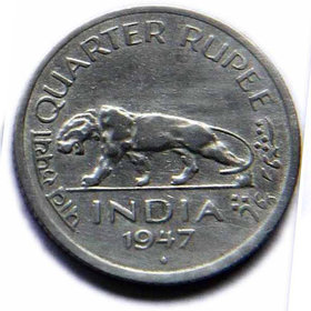 BRITISH INDIA QUARTER RUPEE COPPER NICKEL COIN - TIGER COIN - OLD INDIA COIN