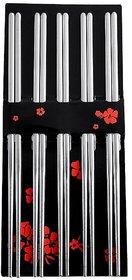Stainless Steel Round Chinese Chopsticks, Medium(Multicolour) - 5 Pairs