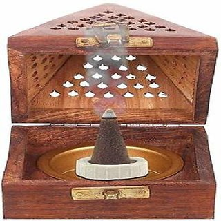 Pyramid Shape Wooden Incense Holder/ Dhoopbatti Stand With Lid by LAZYwindow