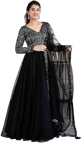 Plain Skirt And Sequence Blouse Semi-Sttiched Lehengha (Jula Black Sequence)