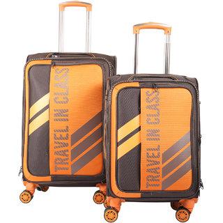 Polo Class 2Pc Set Semi Soft Luggage Trolley Bag (20  28 Inch) - Coffee