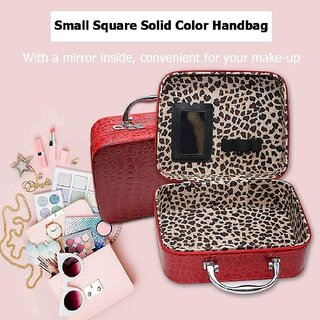 Cosmetic, Makeup,Jewelry, Necklace Storage Bag with Small Mirror Adjustable Dividers for Brushes-Red