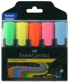 Faber-Castell Textliner - Pack of 5 Pens Different Colours pack of 2